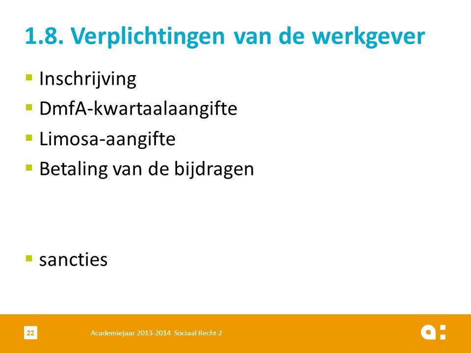 Academiejaar 2013-2014 Sociaal Recht 222  Inschrijving  DmfA-kwartaalaangifte  Limosa-aangifte  Betaling van de bijdragen  sancties 1.8. Verplich