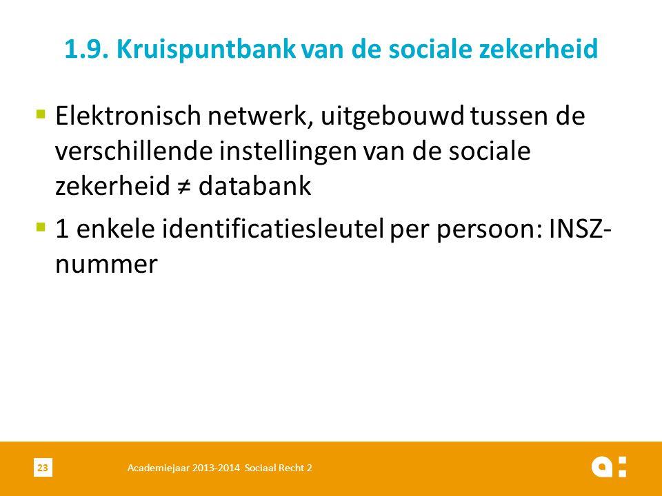 Academiejaar 2013-2014 Sociaal Recht 223 1.9. Kruispuntbank van de sociale zekerheid  Elektronisch netwerk, uitgebouwd tussen de verschillende instel