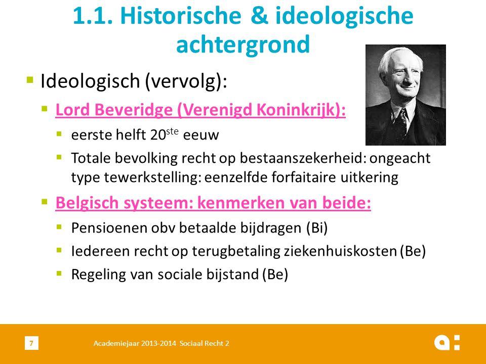  Ideologisch (vervolg):  Lord Beveridge (Verenigd Koninkrijk):  eerste helft 20 ste eeuw  Totale bevolking recht op bestaanszekerheid: ongeacht ty