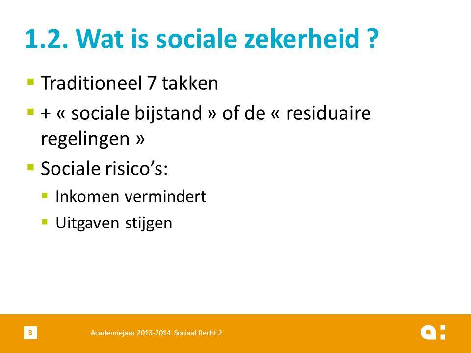 8  Traditioneel 7 takken  + « sociale bijstand » of de « residuaire regelingen »  Sociale risico's:  Inkomen vermindert  Uitgaven stijgen 1.2. Wa