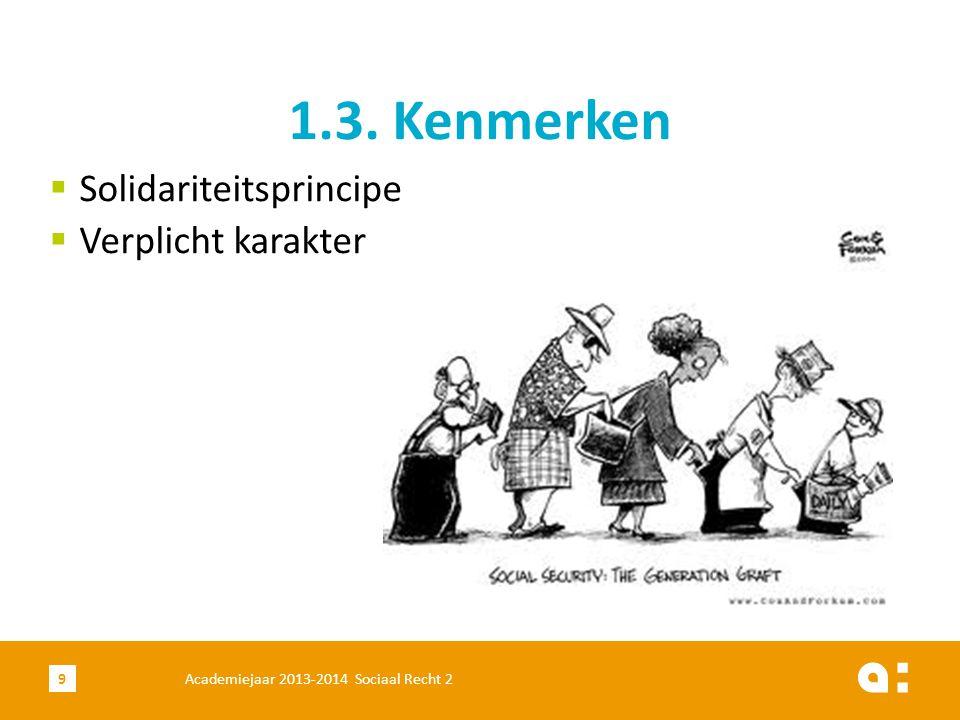 Academiejaar 2013-2014 Sociaal Recht 210 1)Stelsel van de loontrekkenden 2)Stelsel van de zelfstandigen 3)Stelsel van de ambtenaren 1.4.