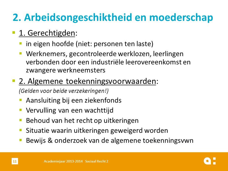 Academiejaar 2013-2014 Sociaal Recht 211 2. Arbeidsongeschiktheid en moederschap  1. Gerechtigden:  in eigen hoofde (niet: personen ten laste)  Wer