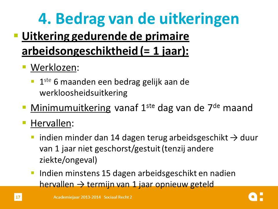  Uitkering gedurende de primaire arbeidsongeschiktheid (= 1 jaar):  Werklozen:  1 ste 6 maanden een bedrag gelijk aan de werkloosheidsuitkering  M