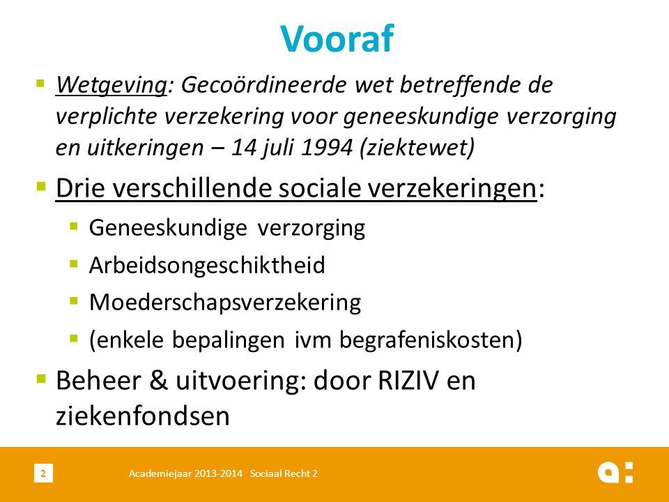 Academiejaar 2013-2014 Sociaal Recht 22  Wetgeving: Gecoördineerde wet betreffende de verplichte verzekering voor geneeskundige verzorging en uitkeri