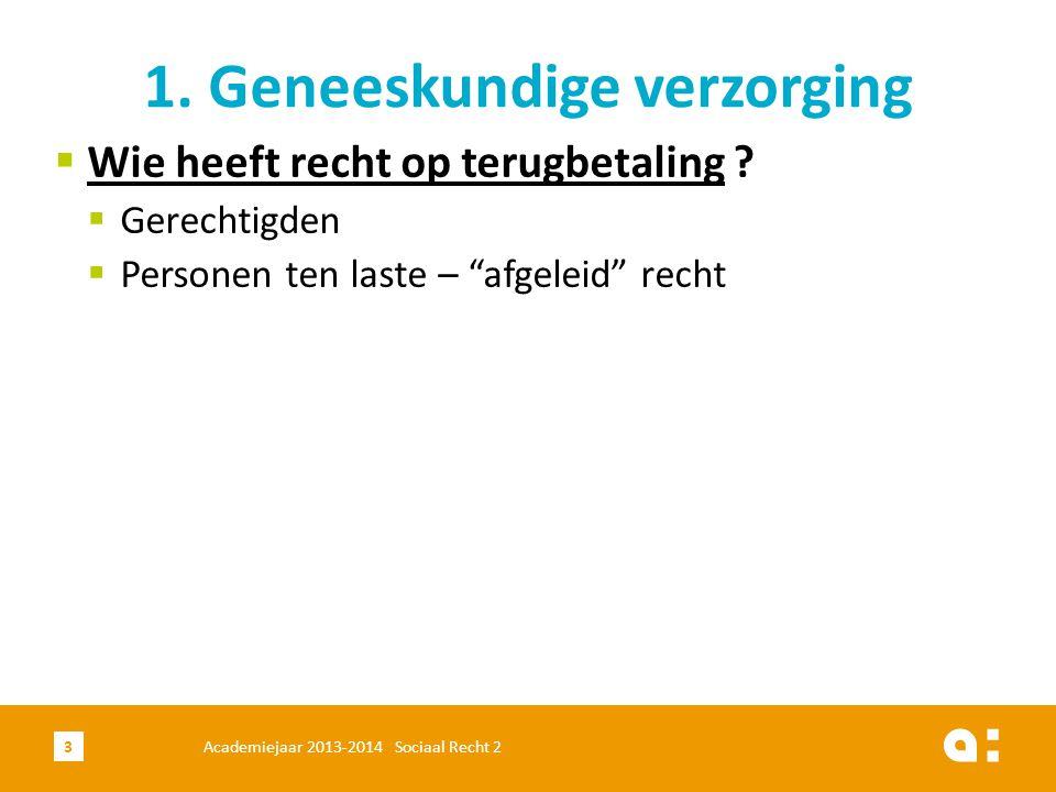 """Academiejaar 2013-2014 Sociaal Recht 23 1. Geneeskundige verzorging  Wie heeft recht op terugbetaling ?  Gerechtigden  Personen ten laste – """"afgele"""