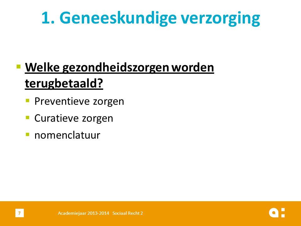  Welke gezondheidszorgen worden terugbetaald?  Preventieve zorgen  Curatieve zorgen  nomenclatuur 1. Geneeskundige verzorging Academiejaar 2013-20