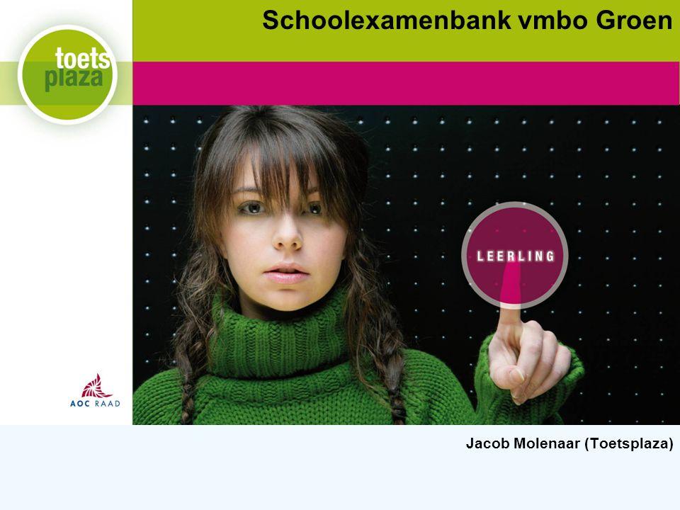 Expertiseteam Toetsenbank Even voorstellen… 2 Jacob Molenaar Zelfstandig onderwijstechnoloog Verbonden aan Toetsplaza Deelprojectleider ICT-infrastructuur van het project Schoolexamens vmbo Groen