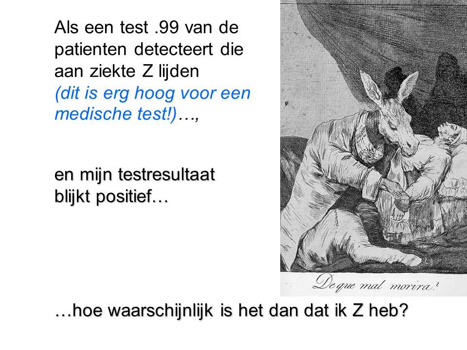 Vraag1 1: hoe prevalent is Z.Stel: 1 patient op de 1000 Vraag 2: Hoe veel false alarms?.