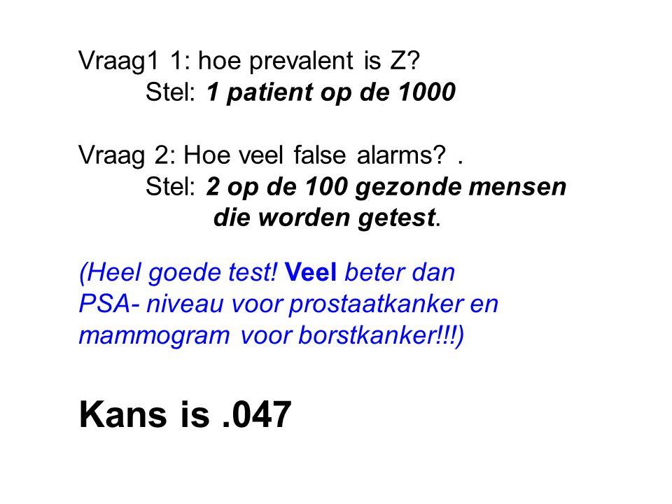 Vraag1 1: hoe prevalent is Z. Stel: 1 patient op de 1000 Vraag 2: Hoe veel false alarms?.