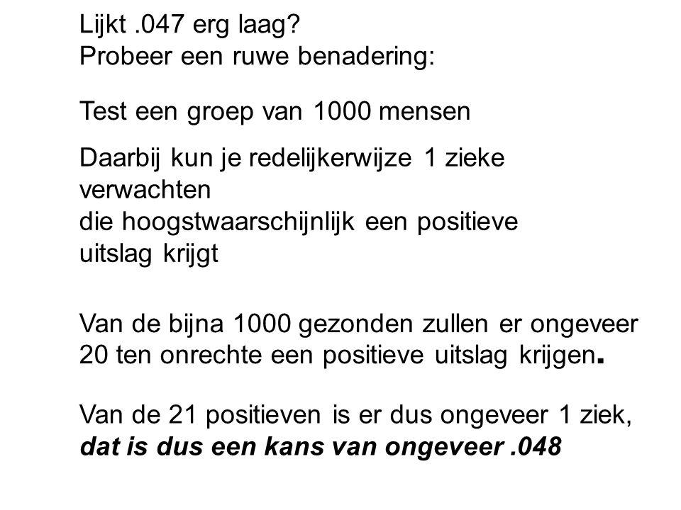 Preciezer: 100000 100 99900 99 -+ 1 - - 1998 …+ 97902 ….- 99 ziek op 1998 + 99 = 2097 positieven:.04721.1% 1% 2%