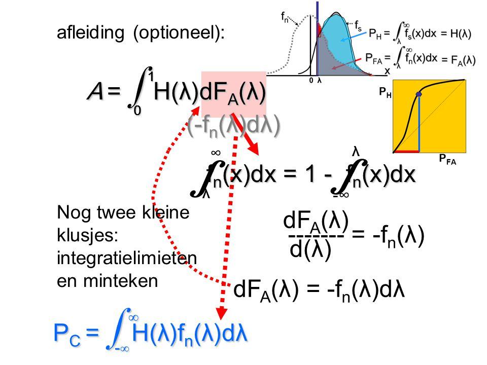afleiding (optioneel): dF A (λ) d(λ) ------- = -f n (λ) ∞ P C = ∫ H(λ)f n (λ)dλ -∞ ∞ P C = ∫ H(λ)f n (λ)dλ -∞ dF A (λ) = -f n (λ)dλ Nog twee kleine kl