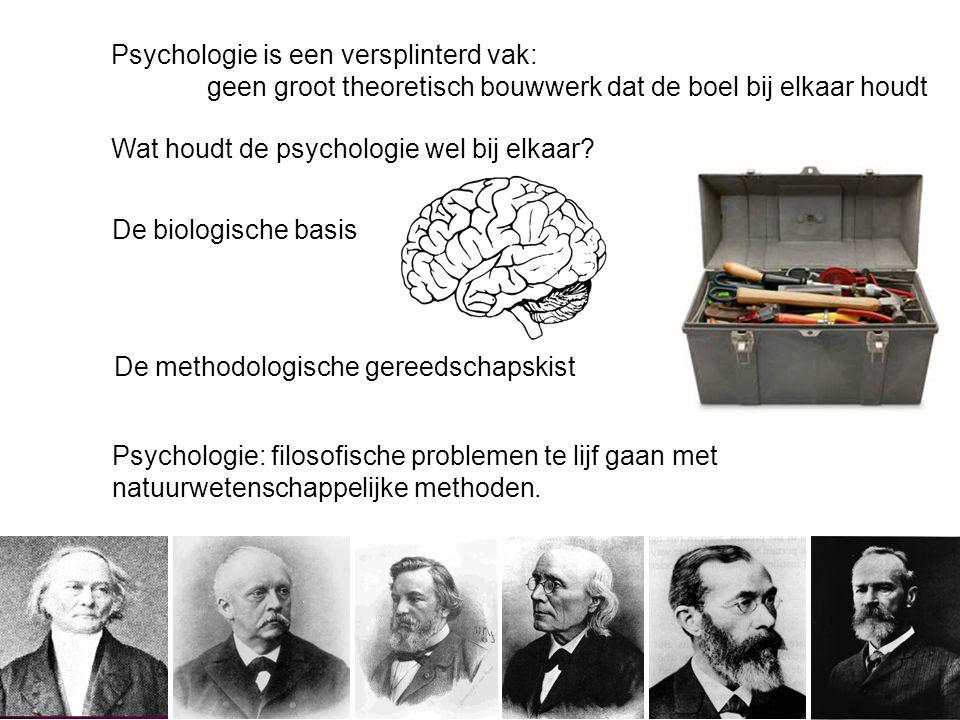 Psychologie is een versplinterd vak: geen groot theoretisch bouwwerk dat de boel bij elkaar houdt De methodologische gereedschapskist Psychologie: filosofische problemen te lijf gaan met natuurwetenschappelijke methoden.