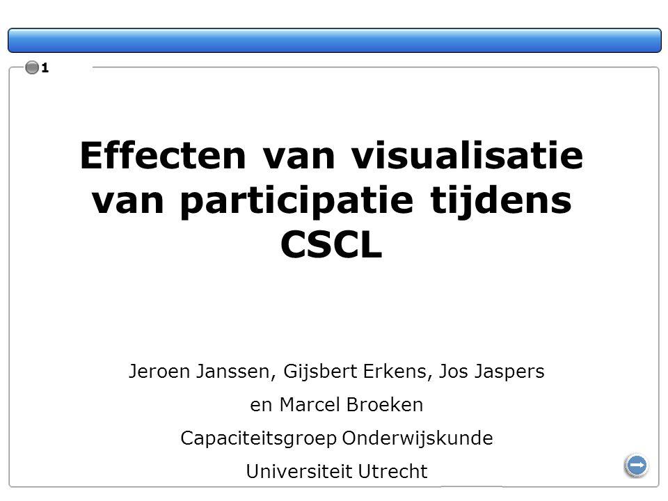 Effecten van visualisatie van participatie tijdens CSCL Jeroen Janssen, Gijsbert Erkens, Jos Jaspers en Marcel Broeken Capaciteitsgroep Onderwijskunde