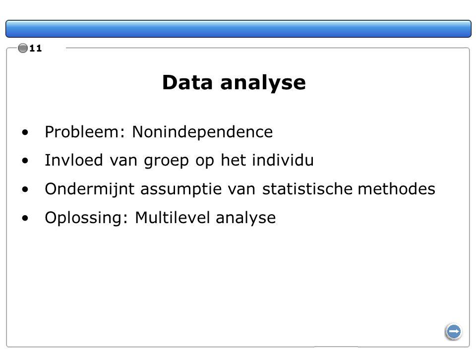 11 Data analyse Probleem: Nonindependence Invloed van groep op het individu Ondermijnt assumptie van statistische methodes Oplossing: Multilevel analy