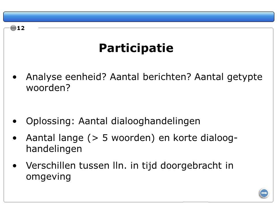 12 Participatie Analyse eenheid? Aantal berichten? Aantal getypte woorden? Oplossing: Aantal dialooghandelingen Aantal lange (> 5 woorden) en korte di