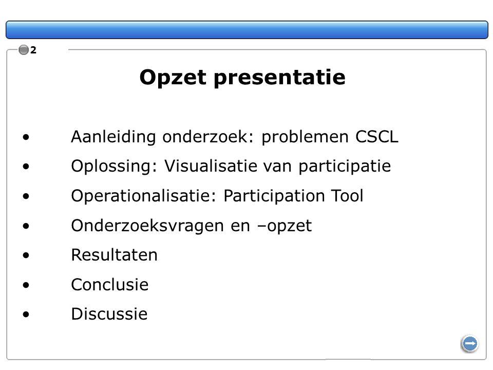 2 Opzet presentatie Aanleiding onderzoek: problemen CSCL Oplossing: Visualisatie van participatie Operationalisatie: Participation Tool Onderzoeksvrag