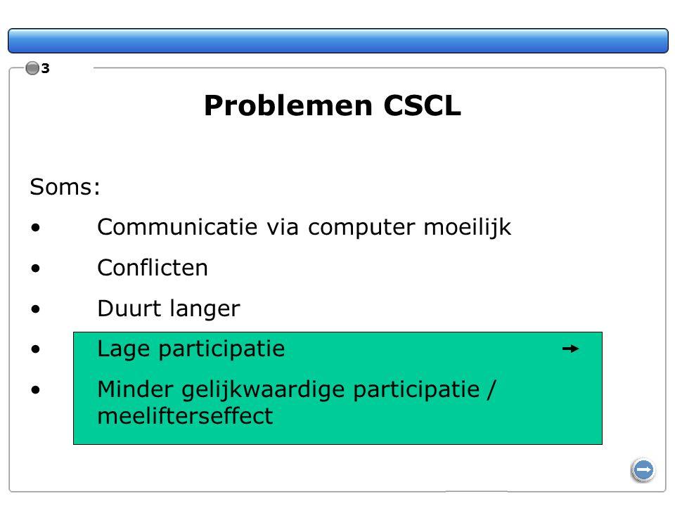 3 Problemen CSCL Soms: Communicatie via computer moeilijk Conflicten Duurt langer Lage participatie Minder gelijkwaardige participatie / meelifterseff