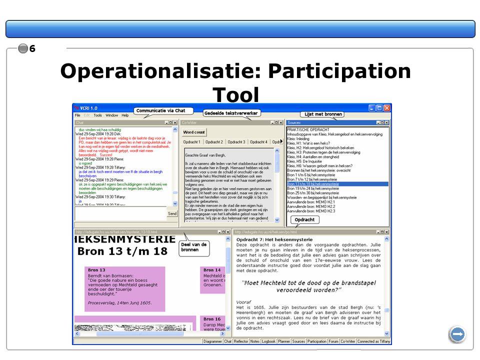 17 Bewustzijn van groepsprocessen en -activiteiten Vragenlijst van 14 items, 5-puntsschaal 2 factoren: Bewustzijn van participatie en van taken van groepsleden