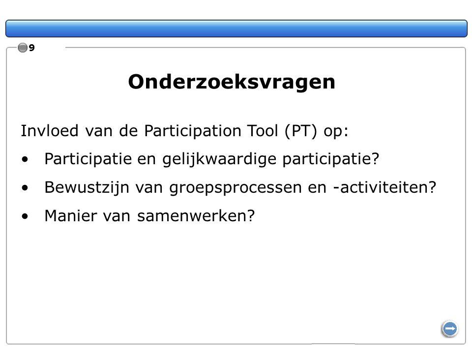 9 Onderzoeksvragen Invloed van de Participation Tool (PT) op: Participatie en gelijkwaardige participatie? Bewustzijn van groepsprocessen en -activite