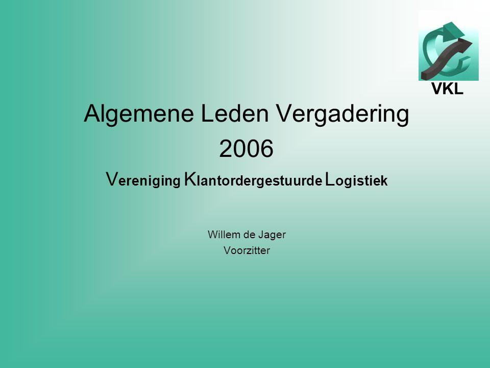 VKL Algemene Leden Vergadering 2006 V ereniging K lantordergestuurde L ogistiek Willem de Jager Voorzitter