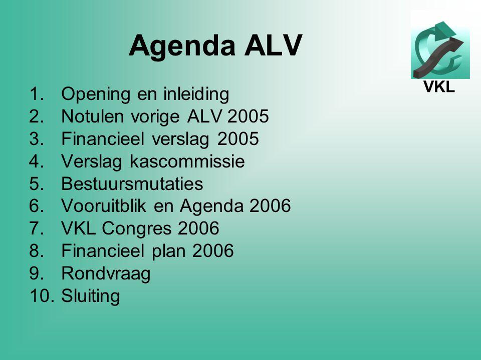 VKL Agenda ALV 1.Opening en inleiding 2.Notulen vorige ALV 2005 3.Financieel verslag 2005 4.Verslag kascommissie 5.Bestuursmutaties 6.Vooruitblik en Agenda 2006 7.VKL Congres 2006 8.Financieel plan 2006 9.Rondvraag 10.Sluiting