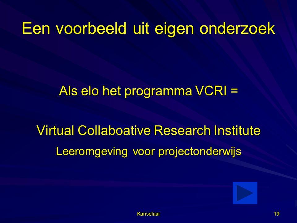 Kanselaar 19 Een voorbeeld uit eigen onderzoek Als elo het programma VCRI = Virtual Collaboative Research Institute Leeromgeving voor projectonderwijs