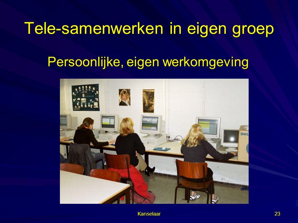 Kanselaar 23 Tele-samenwerken in eigen groep Persoonlijke, eigen werkomgeving Persoonlijke, eigen werkomgeving