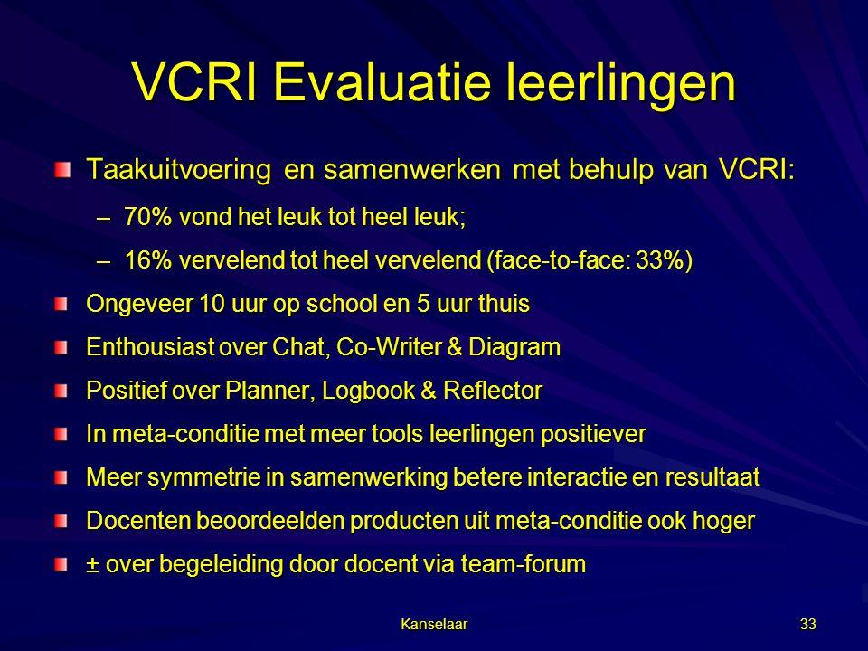 Kanselaar 33 VCRI Evaluatie leerlingen Taakuitvoering en samenwerken met behulp van VCRI: –70% vond het leuk tot heel leuk; –16% vervelend tot heel ve