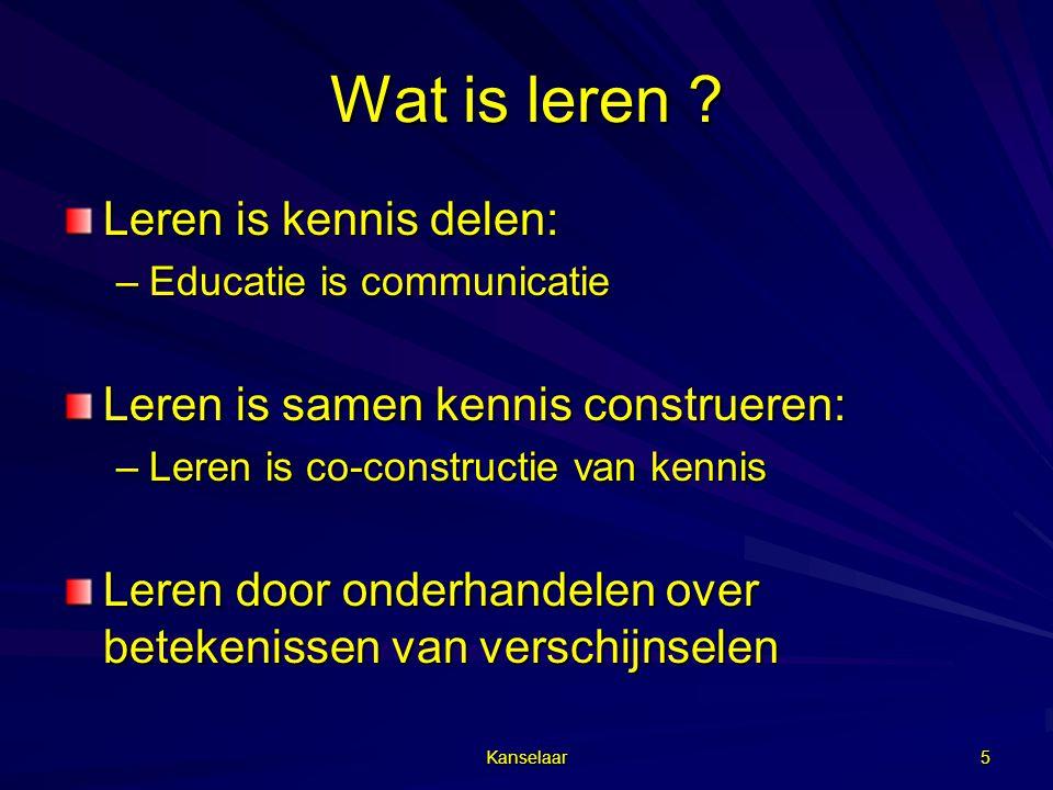 Kanselaar 6 Wat is leren  kennis .