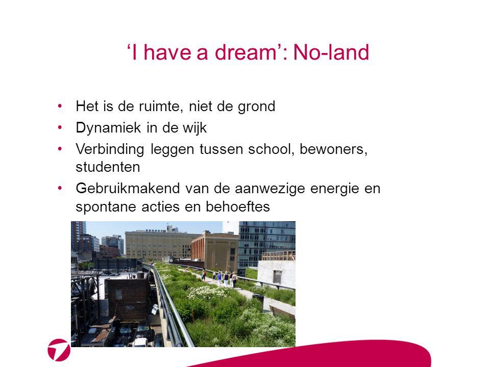 'I have a dream': No-land Flexibel in de verwachting: 'groeimodel' Inzetten en laten groeien op verschillende niveaus (wijk, gemeente, regio).