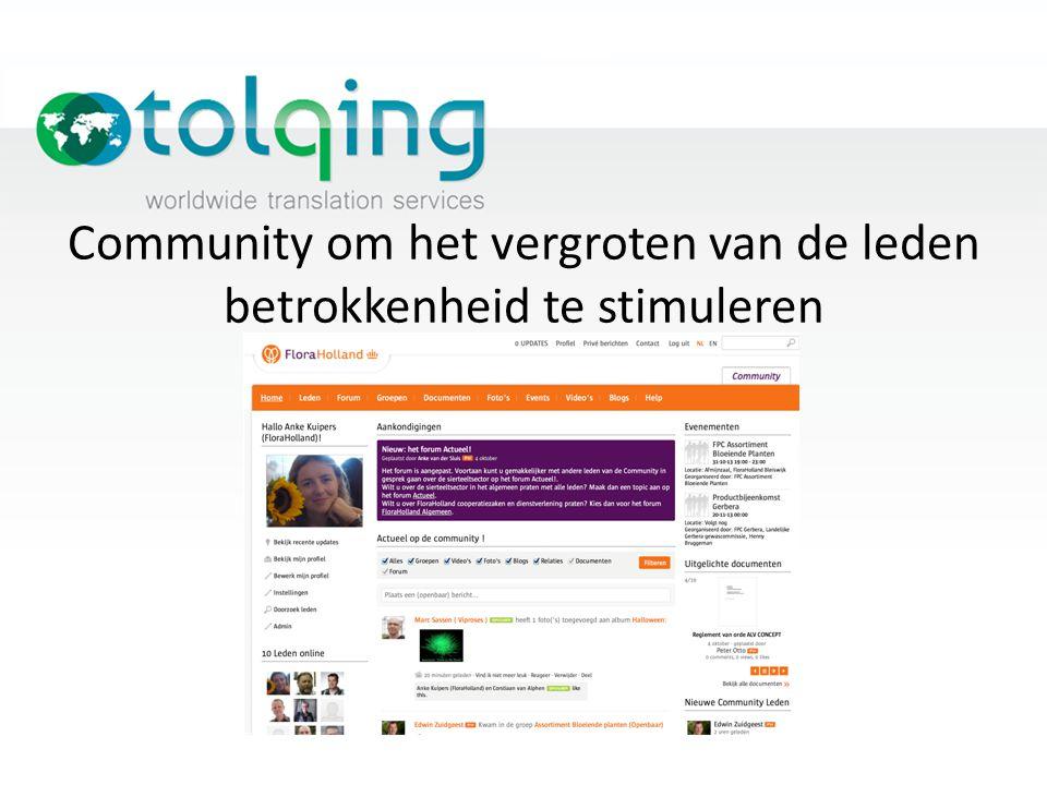 Community om het vergroten van de leden betrokkenheid te stimuleren