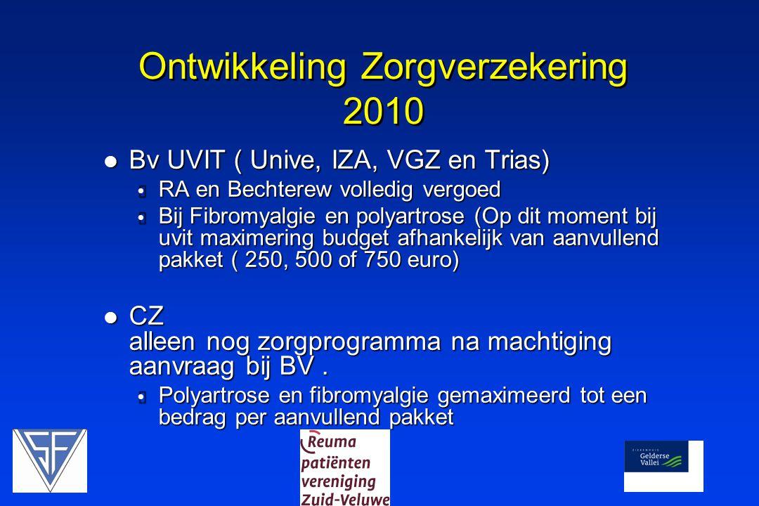 Ontwikkeling Zorgverzekering 2010 Bv UVIT ( Unive, IZA, VGZ en Trias) Bv UVIT ( Unive, IZA, VGZ en Trias)  RA en Bechterew volledig vergoed  Bij Fibromyalgie en polyartrose (Op dit moment bij uvit maximering budget afhankelijk van aanvullend pakket ( 250, 500 of 750 euro) CZ alleen nog zorgprogramma na machtiging aanvraag bij BV.