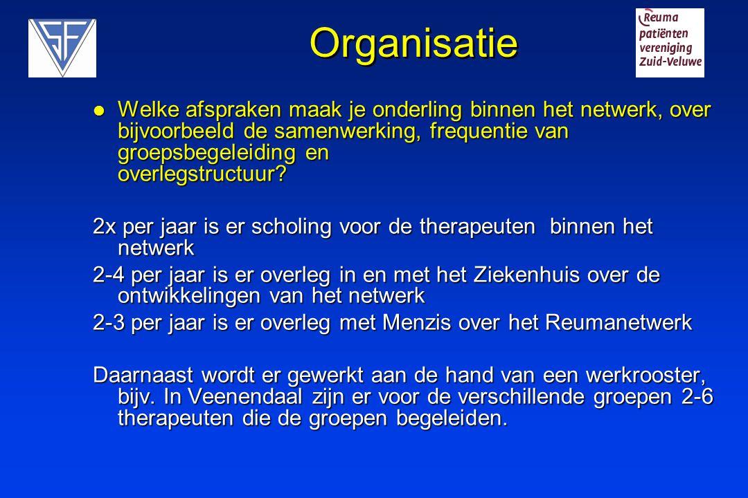 Organisatie Welke afspraken maak je onderling binnen het netwerk, over bijvoorbeeld de samenwerking, frequentie van groepsbegeleiding en overlegstruct