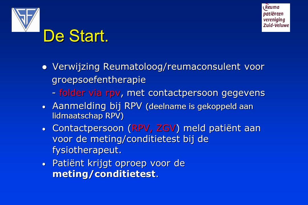 De Start. Verwijzing Reumatoloog/reumaconsulent voor Verwijzing Reumatoloog/reumaconsulent voor groepsoefentherapie groepsoefentherapie - folder via r