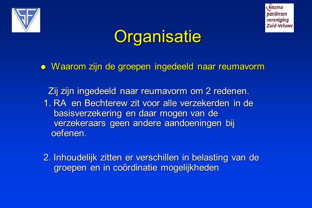 Organisatie Waarom zijn de groepen ingedeeld naar reumavorm Waarom zijn de groepen ingedeeld naar reumavorm Zij zijn ingedeeld naar reumavorm om 2 red