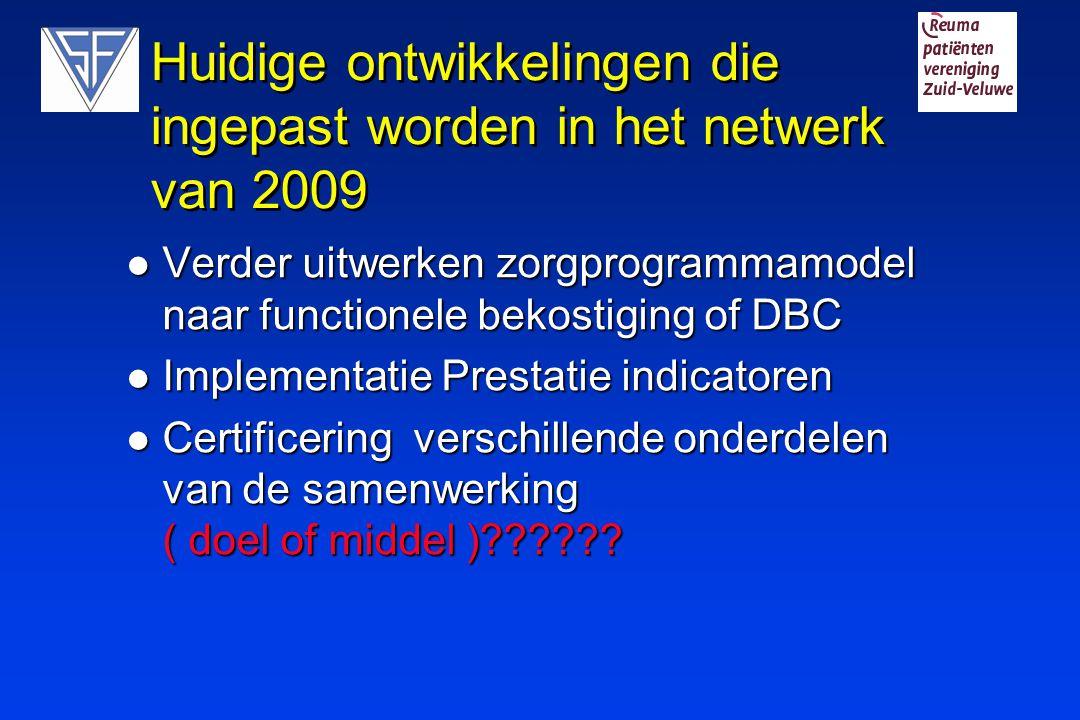 Huidige ontwikkelingen die ingepast worden in het netwerk van 2009 Verder uitwerken zorgprogrammamodel naar functionele bekostiging of DBC Verder uitw