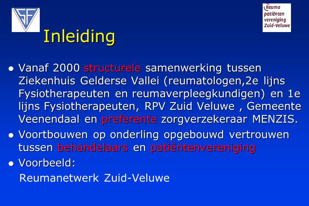 Inleiding Vanaf 2000 structurele samenwerking tussen Ziekenhuis Gelderse Vallei (reumatologen,2e lijns Fysiotherapeuten en reumaverpleegkundigen) en 1