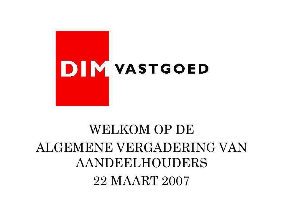 WELKOM OP DE ALGEMENE VERGADERING VAN AANDEELHOUDERS 22 MAART 2007