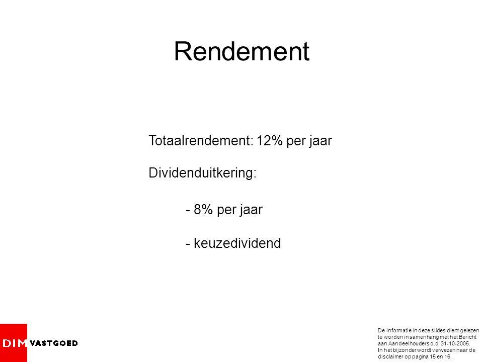 Rendement Totaalrendement: 12% per jaar Dividenduitkering: - 8% per jaar - keuzedividend De informatie in deze slides dient gelezen te worden in samenhang met het Bericht aan Aandeelhouders d.d.