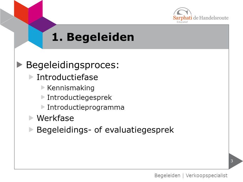 Begeleidingsproces: Introductiefase Kennismaking Introductiegesprek Introductieprogramma Werkfase Begeleidings- of evaluatiegesprek 1. Begeleiden 3 Be