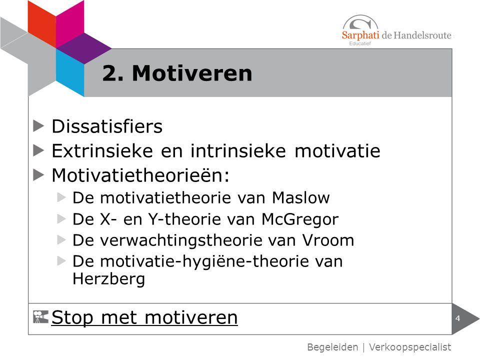 Dissatisfiers Extrinsieke en intrinsieke motivatie Motivatietheorieën: De motivatietheorie van Maslow De X- en Y-theorie van McGregor De verwachtingst