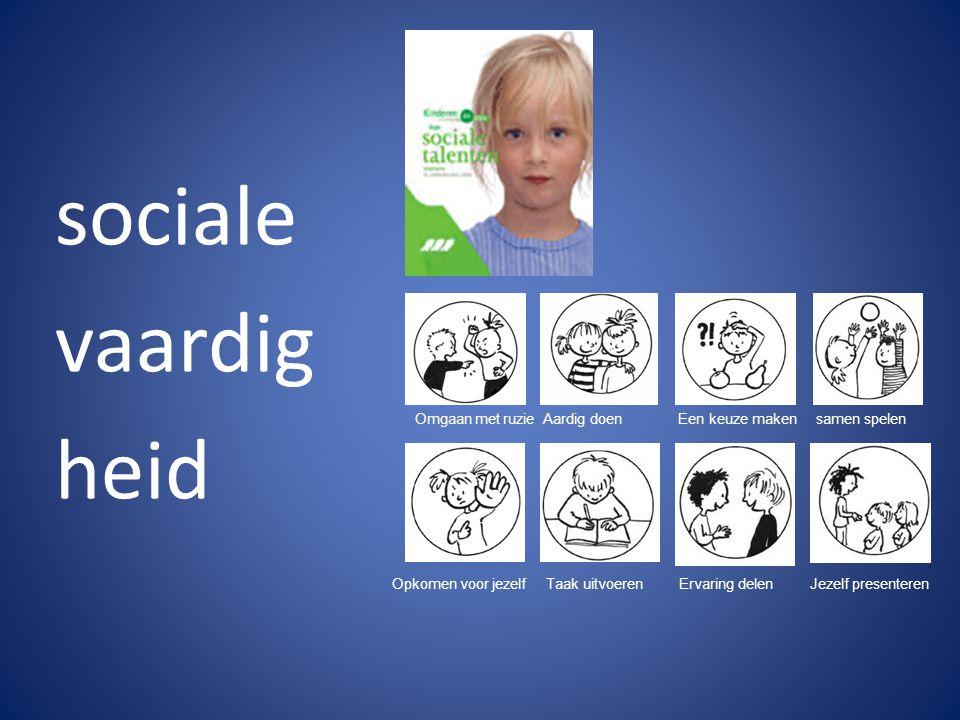 sociale vaardig heid Omgaan met ruzie Aardig doen Een keuze maken samen spelen Opkomen voor jezelf Taak uitvoeren Ervaring delen Jezelf presenteren