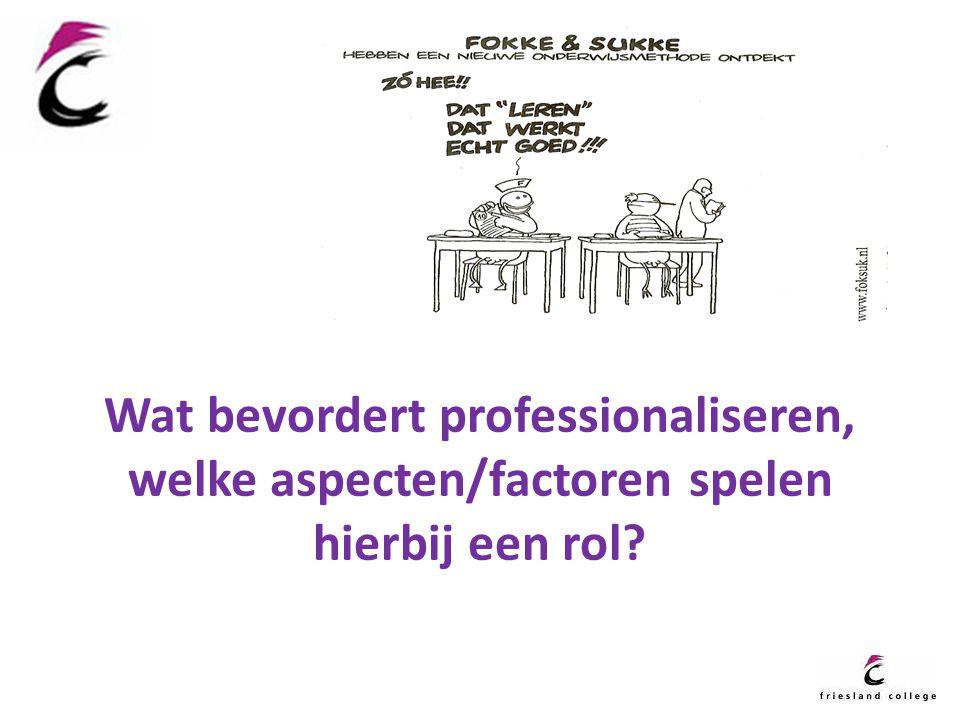 Wat bevordert professionaliseren, welke aspecten/factoren spelen hierbij een rol?