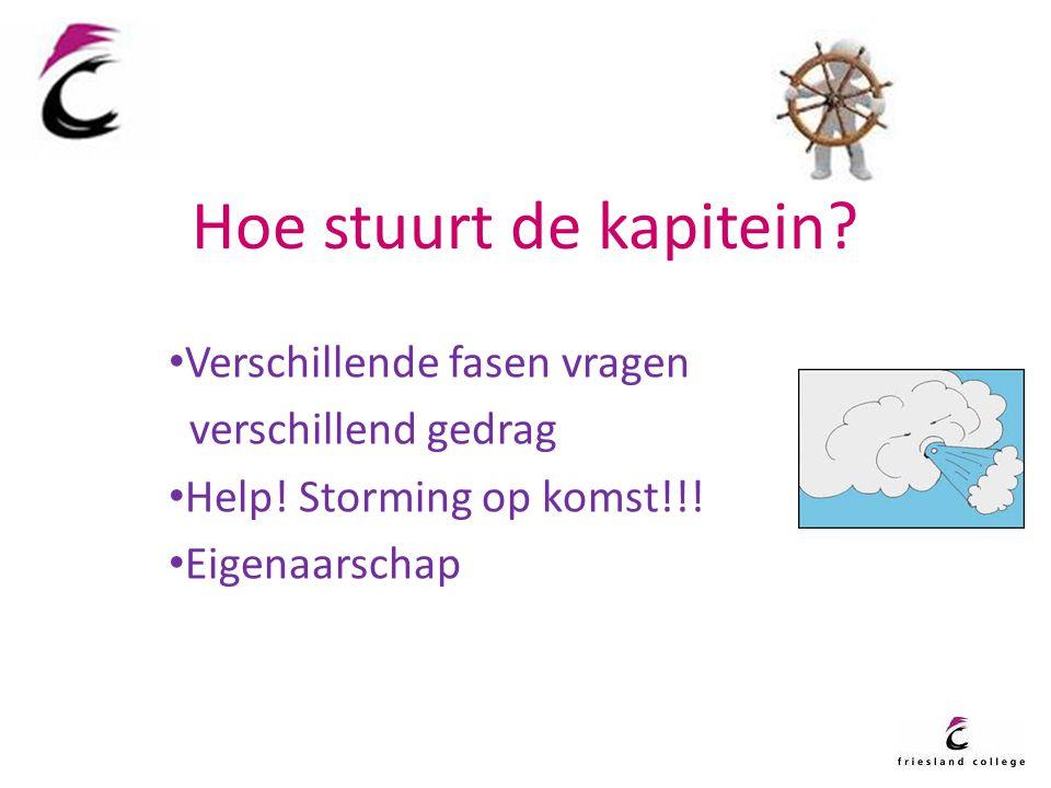 Hoe stuurt de kapitein? Verschillende fasen vragen verschillend gedrag Help! Storming op komst!!! Eigenaarschap