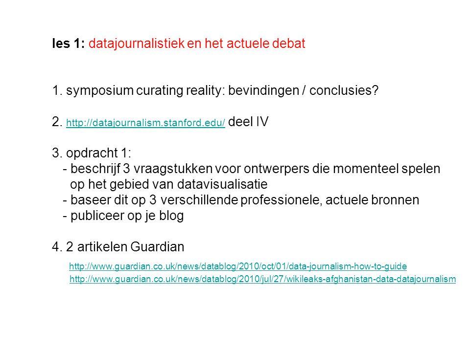 les 1: datajournalistiek en het actuele debat 1.
