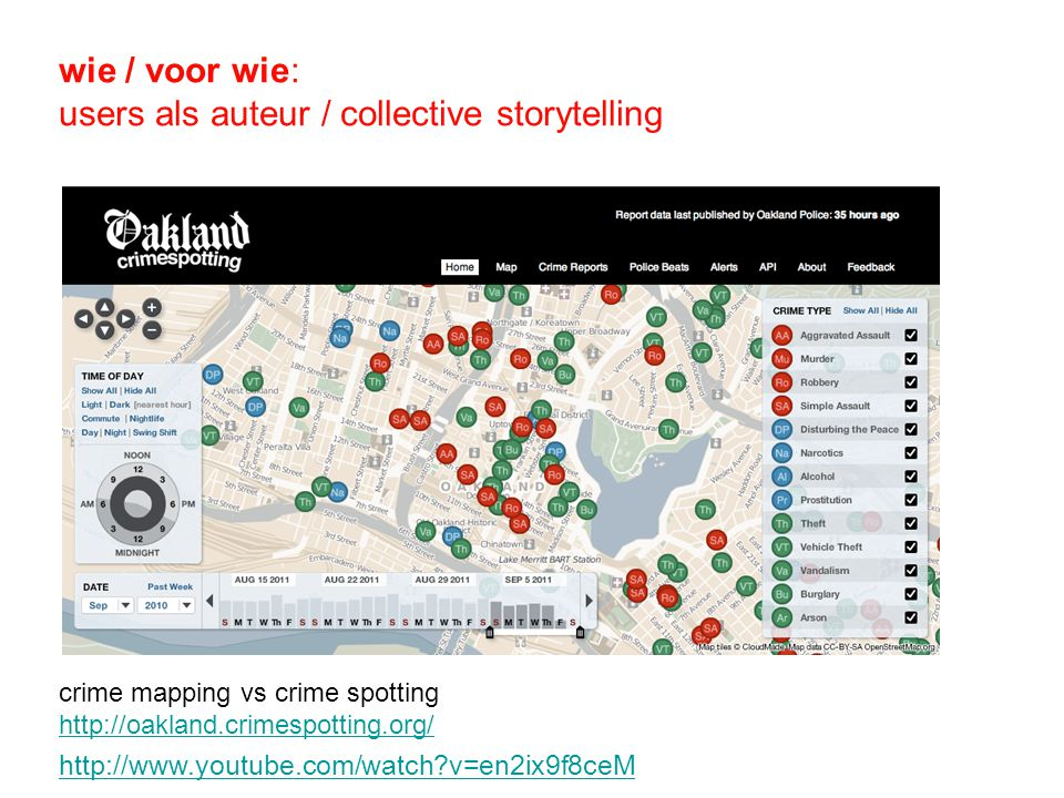 wie / voor wie: users als auteur / collective storytelling crime mapping vs crime spotting http://oakland.crimespotting.org/ http://www.youtube.com/watch v=en2ix9f8ceM