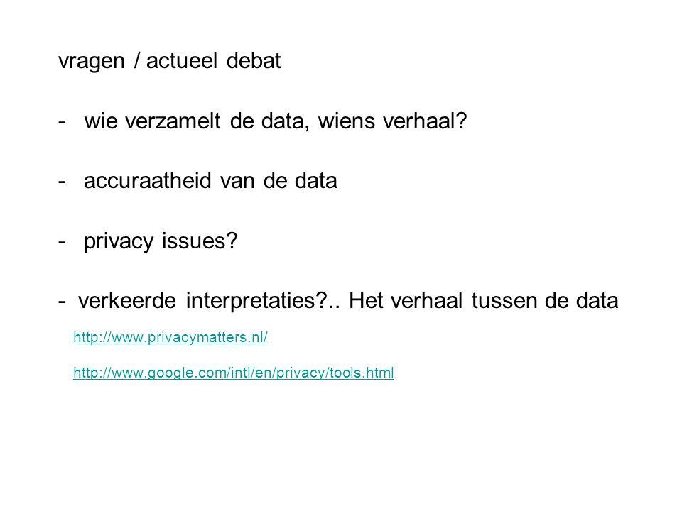 vragen / actueel debat - wie verzamelt de data, wiens verhaal? -accuraatheid van de data -privacy issues? - verkeerde interpretaties?.. Het verhaal tu