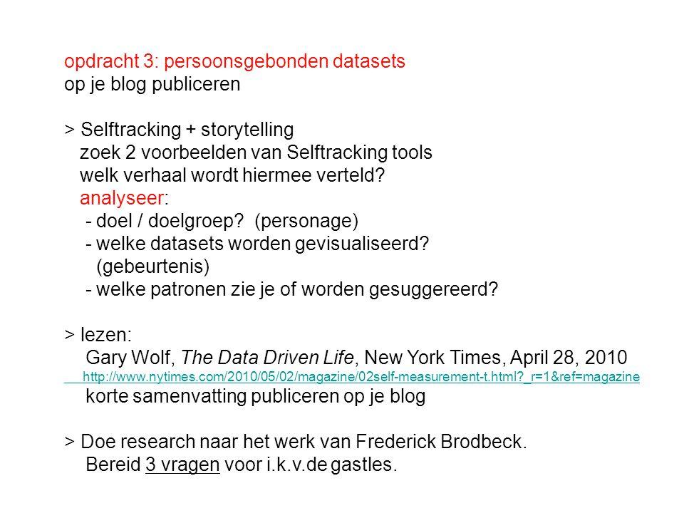 opdracht 3: persoonsgebonden datasets op je blog publiceren > Selftracking + storytelling zoek 2 voorbeelden van Selftracking tools welk verhaal wordt