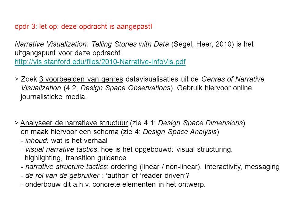opdr 3: let op: deze opdracht is aangepast! Narrative Visualization: Telling Stories with Data (Segel, Heer, 2010) is het uitgangspunt voor deze opdra