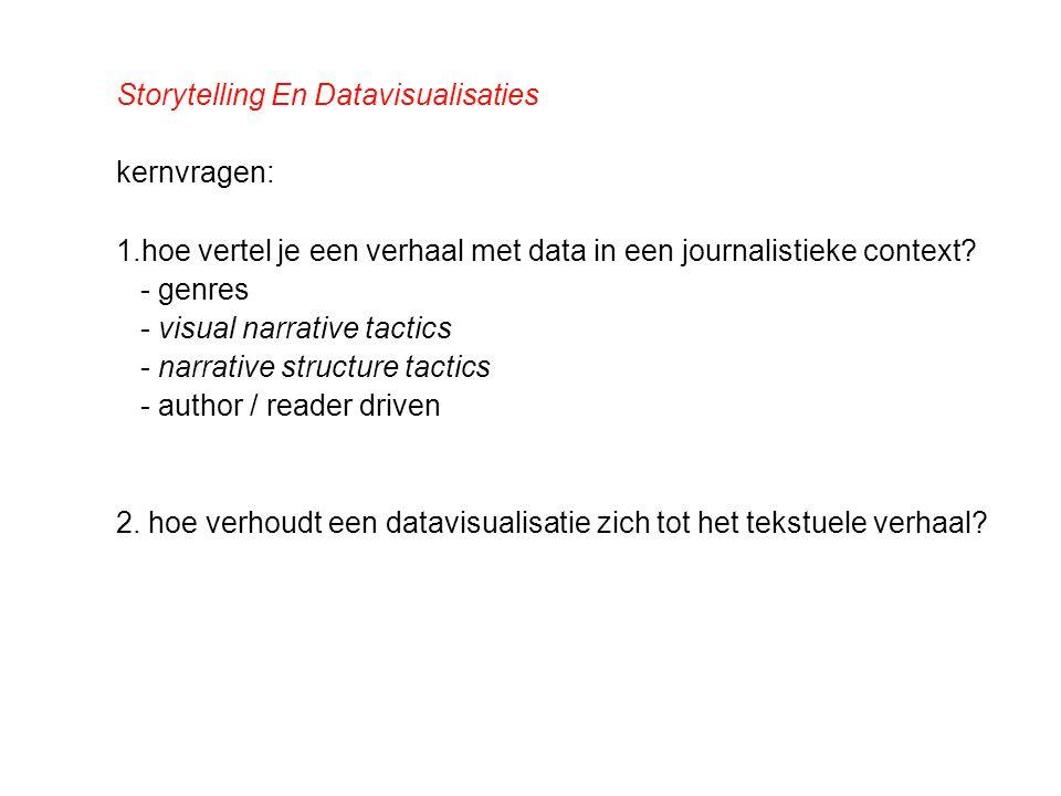 Storytelling En Datavisualisaties kernvragen: 1.hoe vertel je een verhaal met data in een journalistieke context? - genres - visual narrative tactics